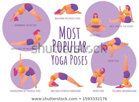 Jóga illusztráció sport test fitnessz sziluett Stock fotó © adrenalina