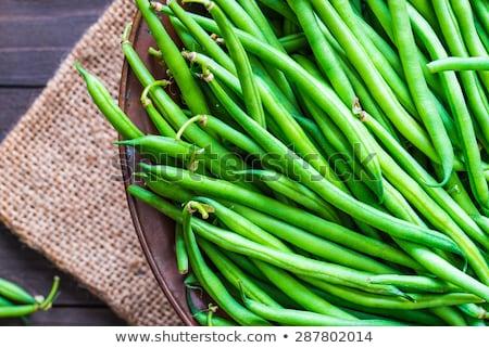 Ruw groene bonen voedsel achtergrond Blauw kok Stockfoto © M-studio