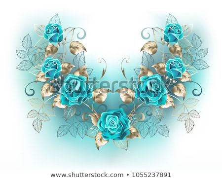Symmetrical composition with turquoise roses Stock photo © blackmoon979