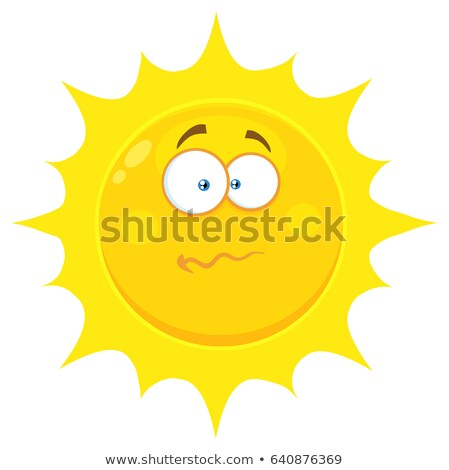 confused yellow sun cartoon emoji face character with nervous expression stock photo © hittoon