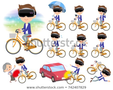 virtual reality goggle men_city bicycle Stock photo © toyotoyo