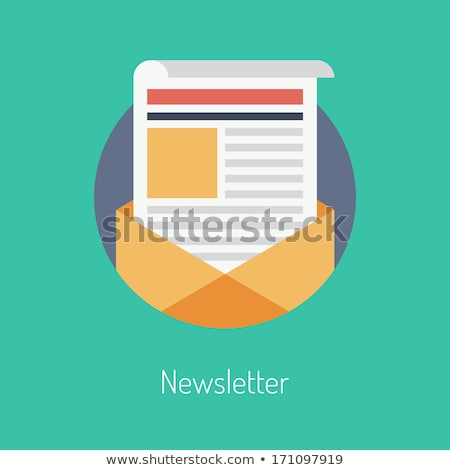 Flat design concept of regularly distributed news publication via e-mail with some topics of interes stock photo © makyzz