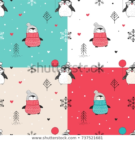 christmas icons snow seamless pattern happy winter holiday tile stock photo © terriana