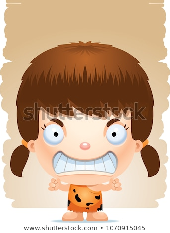 Angry Cartoon Girl Caveman Stock photo © cthoman