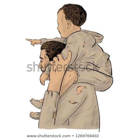 Vader zoon boven wijzend toekomst geïsoleerd witte Stockfoto © doomko