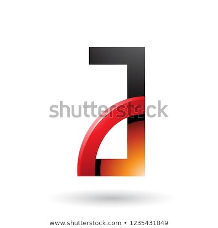 Rood oranje brief glanzend kwartaal cirkel Stockfoto © cidepix