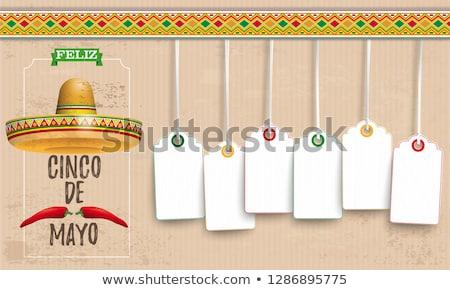 sombrero cinco de mayo chili vintage price stickers fiesta stock photo © limbi007