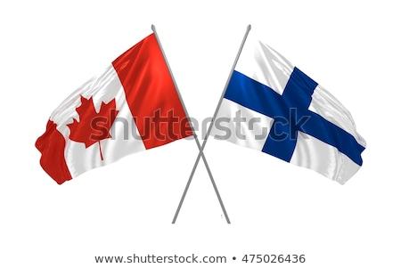 Twee vlaggen Canada Finland geïsoleerd Stockfoto © MikhailMishchenko