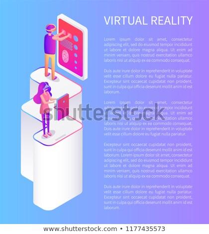 Virtuális valóság szöveg minta plakátok szett Stock fotó © robuart