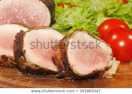 Stock fotó: Zöld · disznóhús · vesepecsenye · krumpli · cékla · sajt