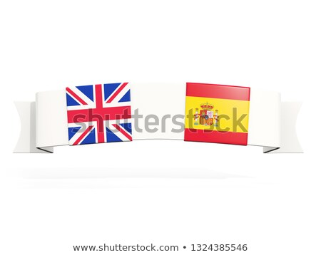 Banner with two square flags of United Kingdom and spain Stock photo © MikhailMishchenko