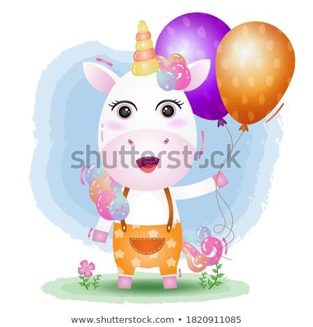 Cute unicorn holding birthday balloon Stock photo © bluering