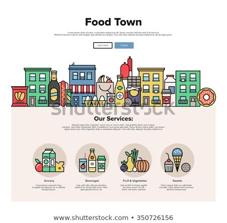 屋台の食べ物 バナー ヘッダ 巨大な ハンバーガー ビジネスマン ストックフォト © RAStudio