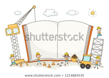 Gyerek fiú védősisak nyitott könyv illusztráció visel Stock fotó © lenm