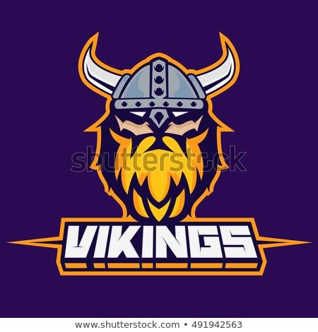 Viking maskot savaşçı imzalamak karikatür grafik Stok fotoğraf © Krisdog