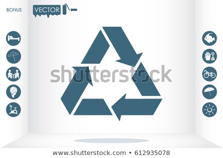 Recycle sign three arrow triangle icon. Reuse or reduce symbol. vector illustration isolated on whit Stock photo © kyryloff