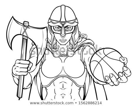 lány · viking · rajz · illusztráció · áll · mosolyog - stock fotó © krisdog