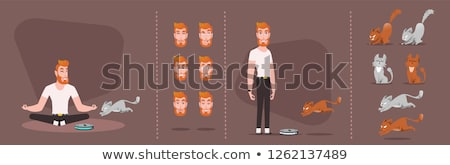 canard · chasseur · chien · homme · animaux · dessin - photo stock © netkov1