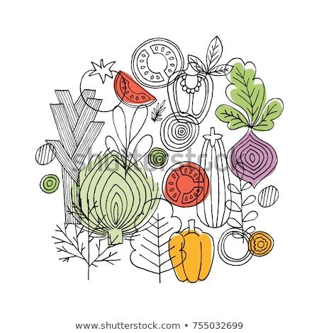 カリフラワー · アイコン · 黒白 · 食品 · 背景 · 黒 - ストックフォト © robuart