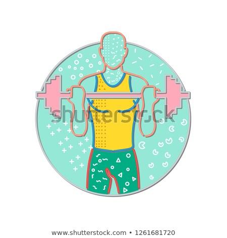 Athlete Lifting Barbell Front Circle Memphis Style Stock photo © patrimonio