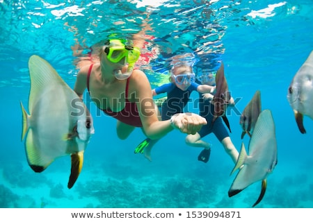 happy mother and son snorkeling in the sea. Look at the fish under water Stock photo © galitskaya