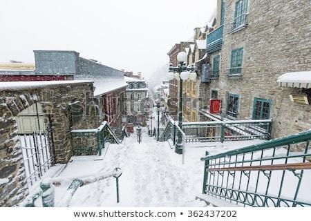 Verlaten straat Quebec stad restaurant winter Stockfoto © Lopolo