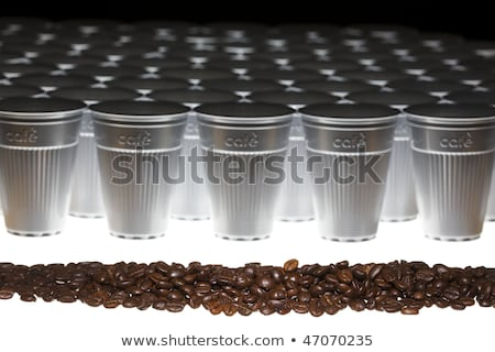 Coffee beans in plastic cups, angular view Stock photo © lichtmeister