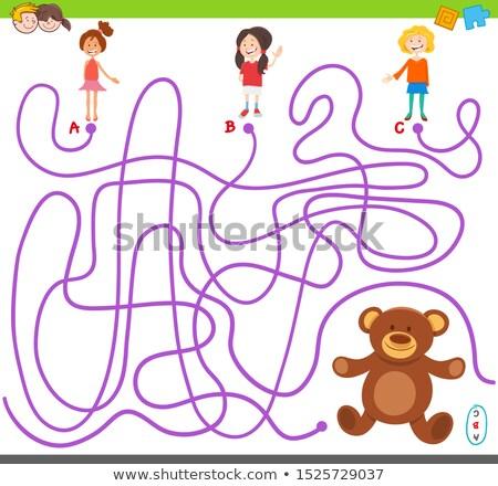 maze game with cartoon girl and teddy bear Stock photo © izakowski