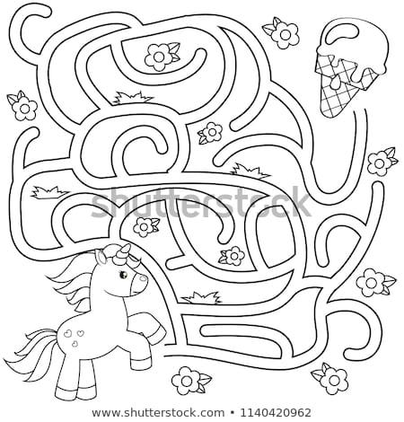 Doolhof spel kinderen ijs cartoon illustratie Stockfoto © izakowski