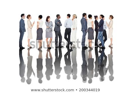 Photo stock: Vue · de · côté · métis · femme · d'affaires · exécutif · parler · orateur