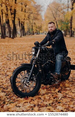 Brutális férfi motoros motorkerékpár ősz idő Stock fotó © vkstudio