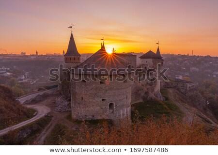 Médiévale château bastion silhouette belle coucher du soleil Photo stock © Arsgera