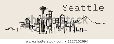 Seattle zwart wit silhouet eenvoudige toerisme Stockfoto © ShustrikS