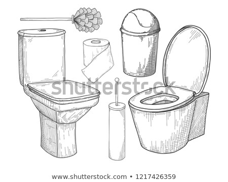 Sketch of toilet bowl and other toiletries isolated on white background. Stock photo © Arkadivna