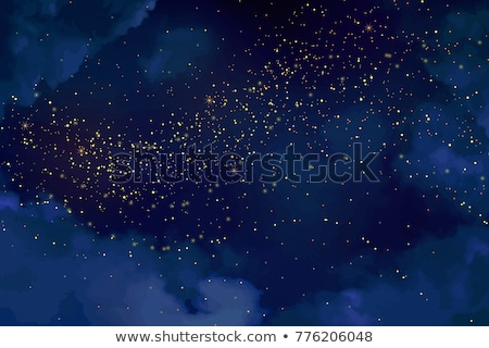 Luxury blue gold glitter particles on black background. Blue glowing lights magic effects. Glow spar Stock photo © fresh_5265954