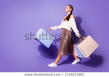 Genç yürüyüş kadın stilize kalpler Stok fotoğraf © nurrka
