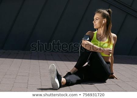 Gyönyörű egészséges fitnessz lány nők tart Stock fotó © lapesnape