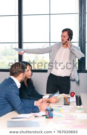 Businesswoman with laptop next to a collaborator on phone Stock photo © photography33