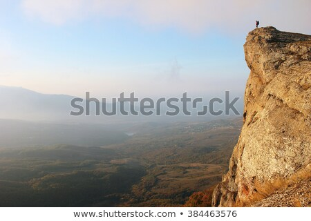 silhouette of lone woman on cliff edge Stock photo © morrbyte