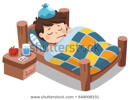 больным · мальчика · Cartoon · иллюстрация · Cute · кровать - Сток-фото © meshaq2000