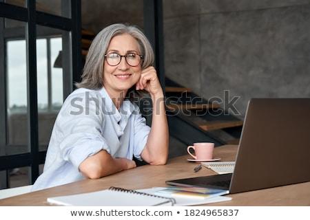 Wydajny kobieta interesu mówić odizolowany Zdjęcia stock © lisafx