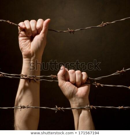 Férfi tart kerítés ház haj sötét Stock fotó © photography33