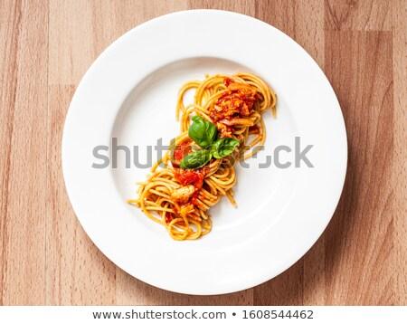 spagetti · tonhal · olasz · edény · tészta · hús - stock fotó © antonio-s