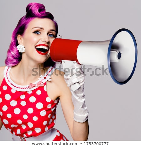 woman holding a big picture of her mouth stock photo © photography33