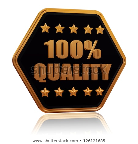 100 percentages quality five star hexagon button Stock photo © marinini