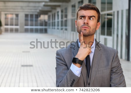 üzletember · gondolkodik · ülő · munka · felirat · tini - stock fotó © feedough