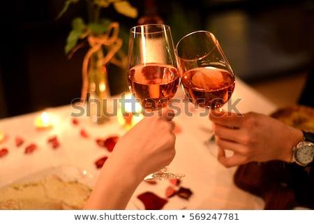 пару ресторан шампанского флейты женщину вино Сток-фото © photography33