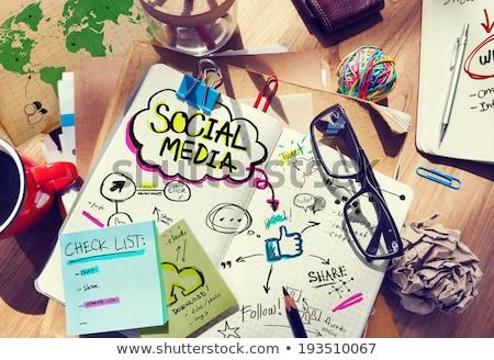 médias · sociaux · rassemblement - photo stock © turtleteeth