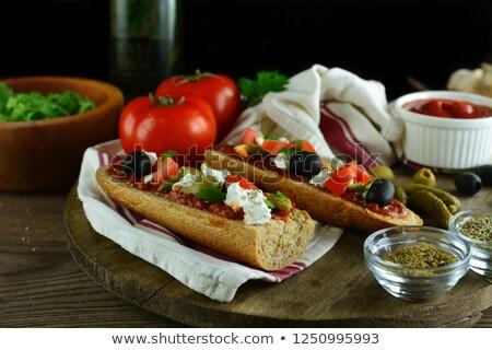 Gesmolten feta plaat voedsel Stockfoto © badmanproduction