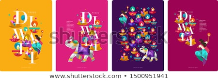 Stock photo: Religious diwali card beautiful background illustration